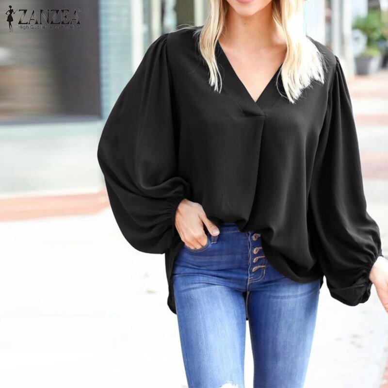 V Neck Blouse with Puffy Long Sleeves