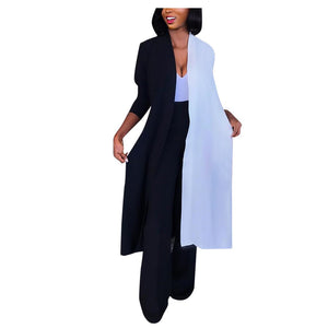 Women's Long Black and White Kimono Cardigan