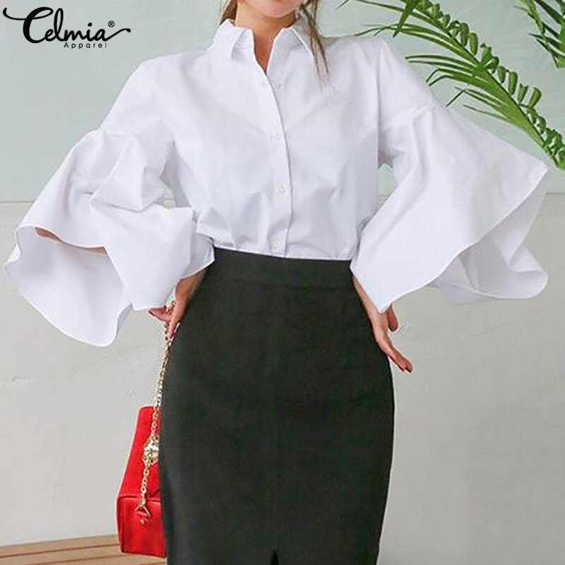 Women's Stylish Blouse with Lapel and Flare Sleeves