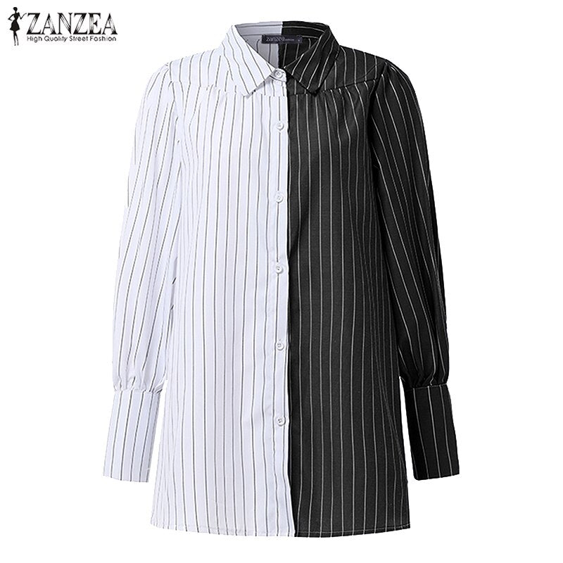 Pin Striped Button Up Blouse with Turn Down Collar and Lantern Sleeves