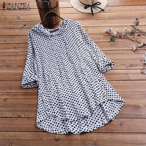 Polka Dot Long Sleeve Hooded Tunic