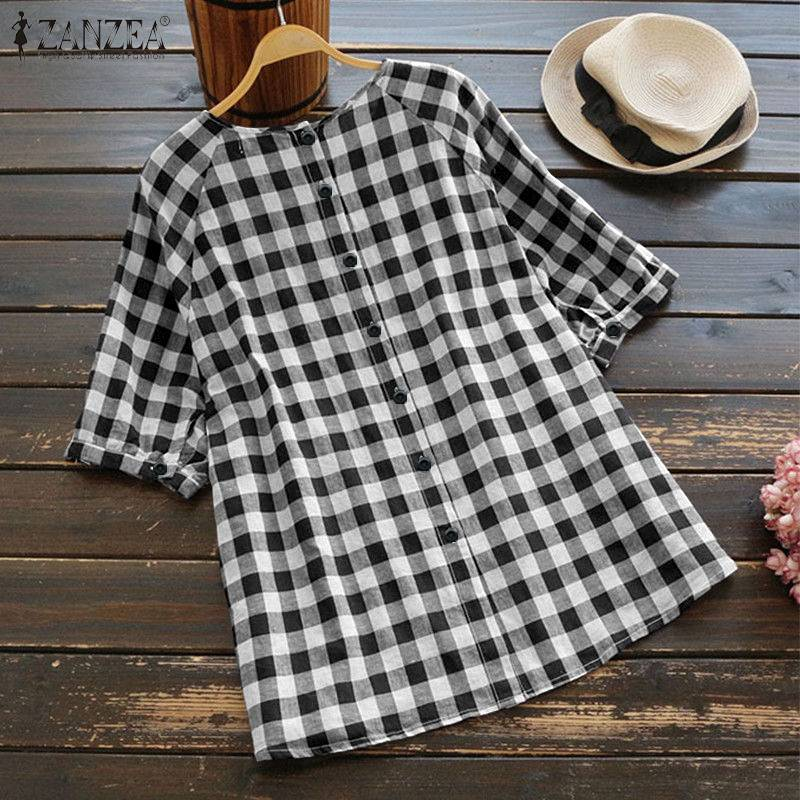 Vintage Short Sleeve Plaid Shirt With Button-Up Back