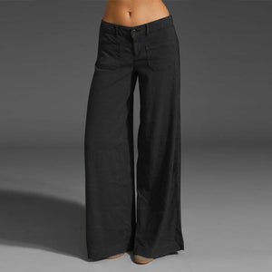 Flare Leg Trousers with Decorative Pockets