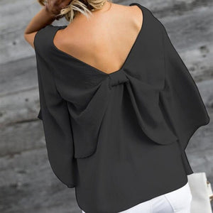 Loose V Back Bow Tie Batwing Sleeve Blouse