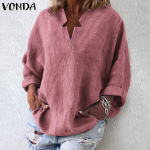 Vintage Casual Long Sleeve V-Neck Tunic