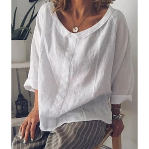 Women's O-Neck; Three Quarter Length Sleeve Casual Blouse