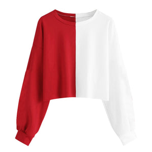 Red and White Spliced Cropped Sweatshirt