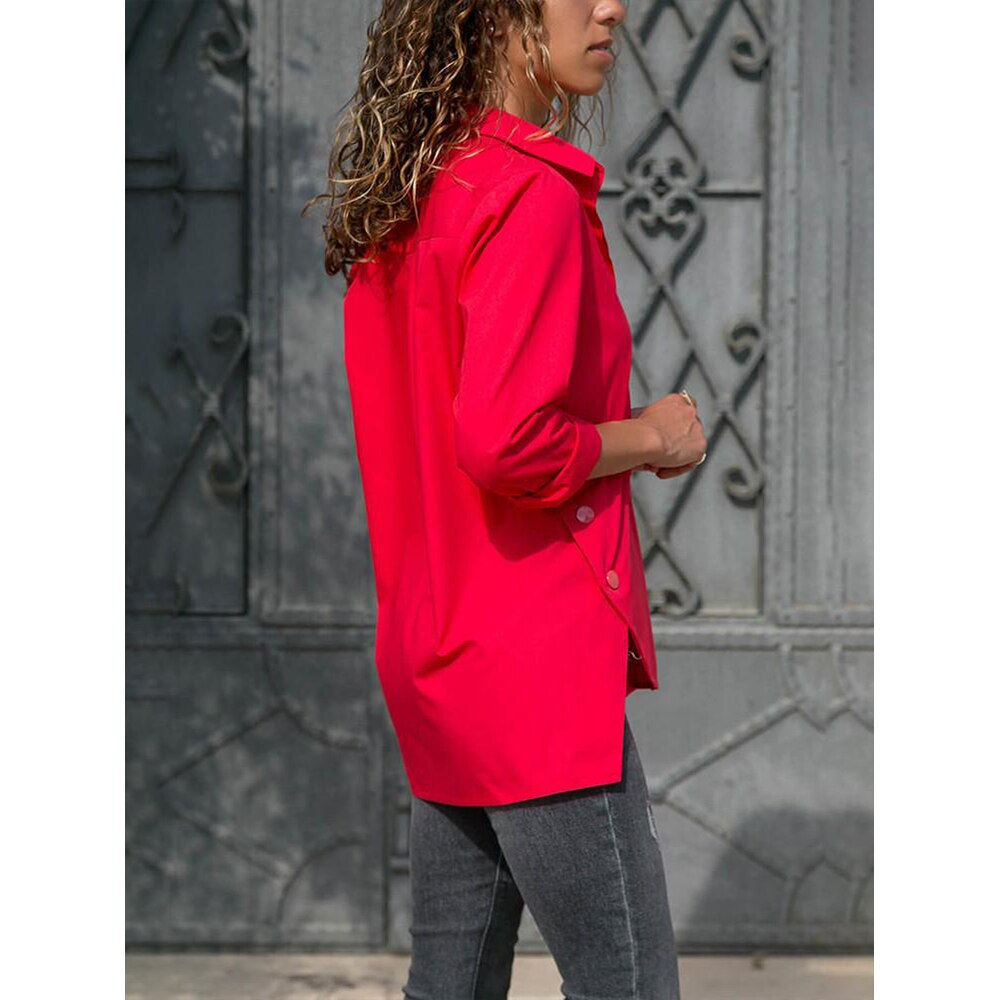 Split Hem Button Detail  Turn-down Collar Long Sleeve Women's Blouse