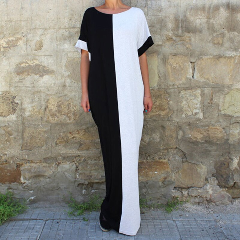 Women's Loose Casual Spliced Black and White Maxi Dress