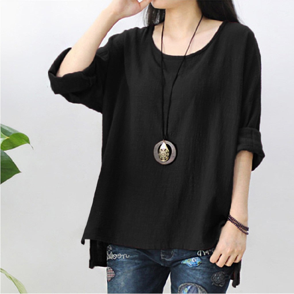 Women's Casual Half Sleeve Linen Blouse