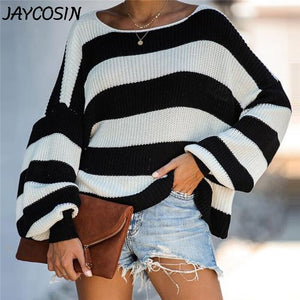 Women's  Black and White Striped Baggy Sweater