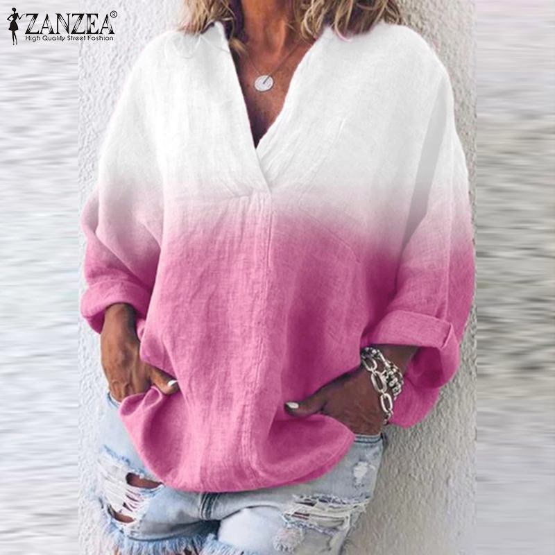 Women's Casual Tie-Dyed V-Neck Long Sleeve Tunic