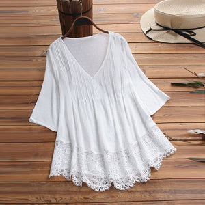 Lace V-Neck Tunic with Three-Quarter Sleeves