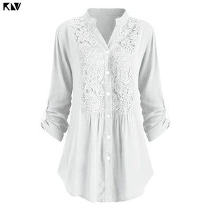 Women's Lace Panel V Neck Casual Long Sleeve Button-up Shirts