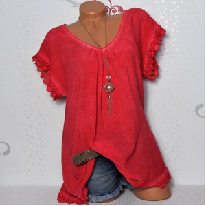 Women's Red O-neck  Loose Short Sleeve Top