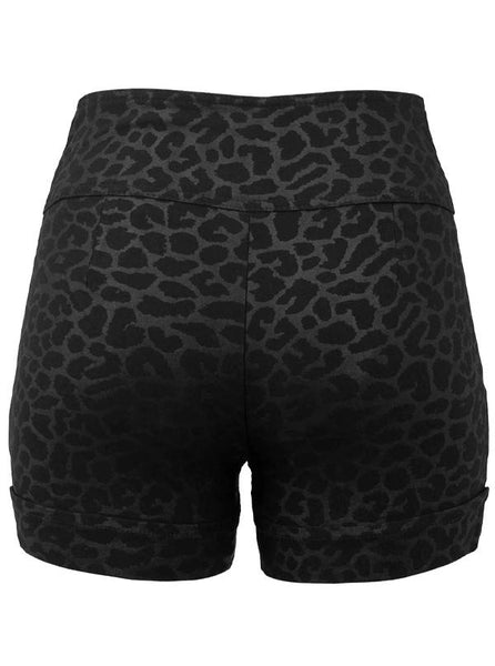 Women's High Waist Leopard Shorts by Double Trouble Apparel