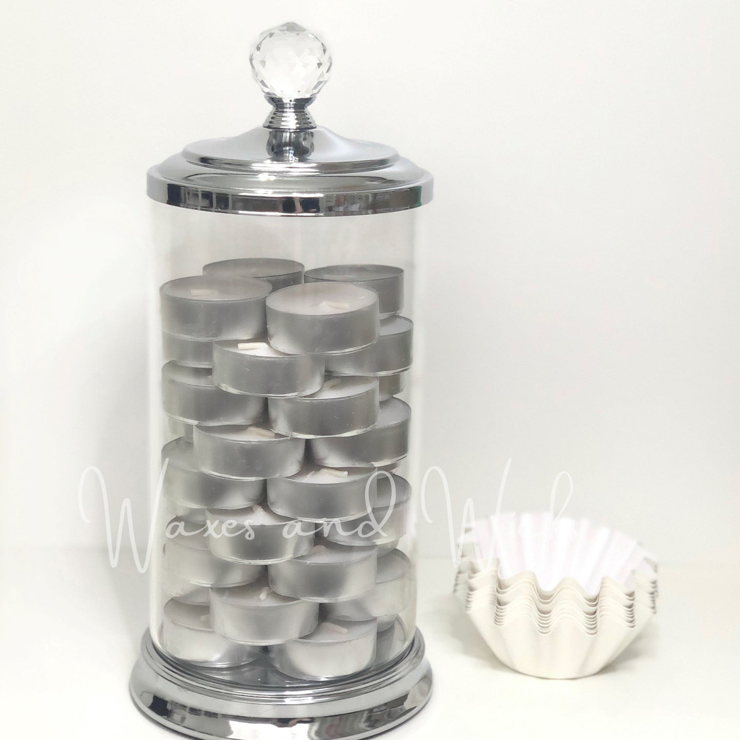 Crystal Top Storage Jar - Waxes and Wicks