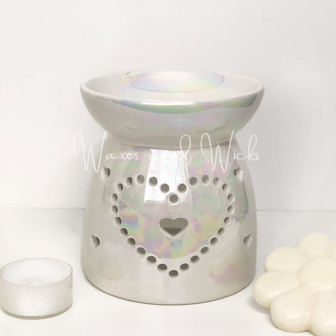 Pearlescent Lustre Heart Wax Warmer - Waxes and Wicks