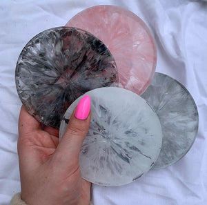'CHOOSE YOUR OWN' SET OF FOUR CIRCULAR QUARTZ PIECES