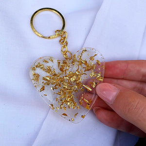 HEART KEYRING WITH FLAKES