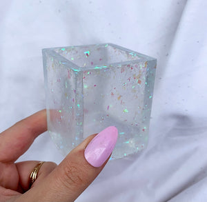 SQUARE CLEAR WITH OPAL POT