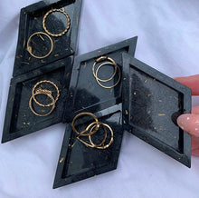 Load image into Gallery viewer, MINI TRAY FOR JEWELLERY/ MIXING GLITTERS IN BLACK & GOLD