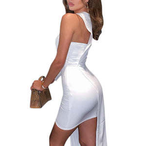 Vicabo Summer Dress One Shoulder Party Dresses for Women Sexy White Side Hem Irregular Sexy Vestidos 2020