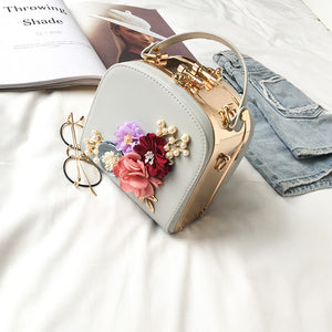 2020 new hit color double lock clip flower pearl chain small square package hand bag leather with iron patchwork shoulder bag
