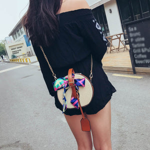 ISHOWTIENDA Women's Fashion Color Ribbon Straw Saddle Bag Shoulder Bag Messenger women Bags For Women Messenger Bags#y2