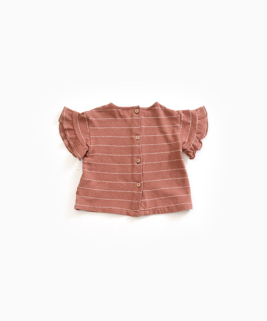 Play Up Striped Rust Red Cotton/Linen Tee