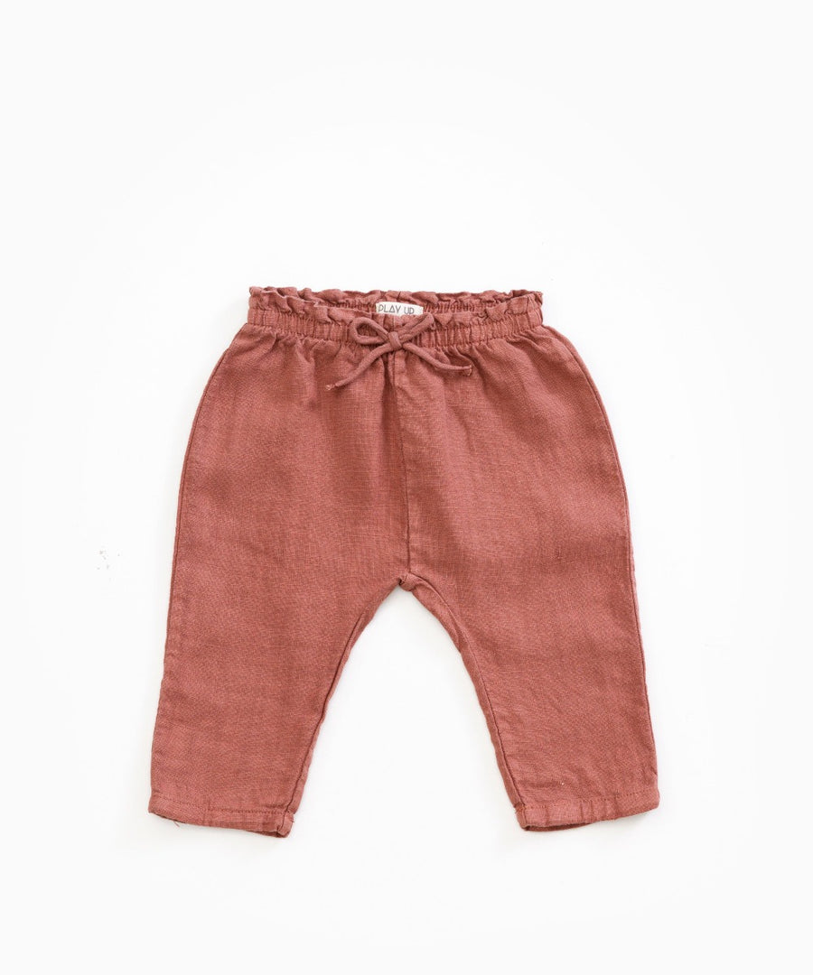 Play Up Rust Relaxed Linen Pants