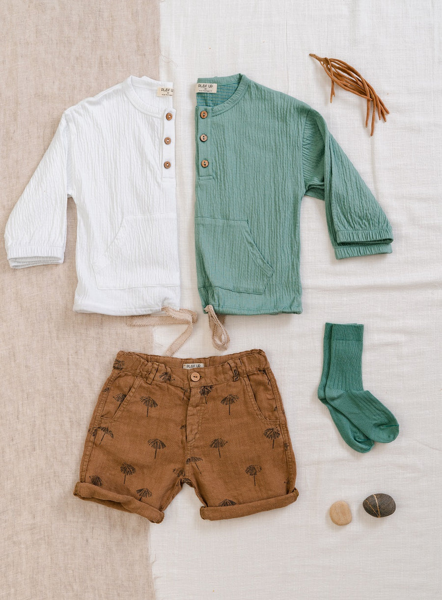 Play Up Printed Khaki Linen Shorts