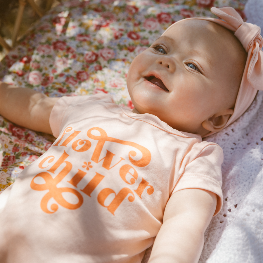 Lacey Lane Apricot Cotton Flower Child Romper