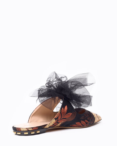 Paulina low-heel mules in exclusive jacquard