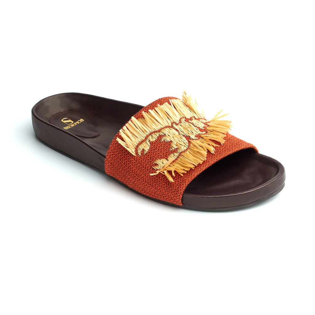Sara raffia embroidered canvas slides