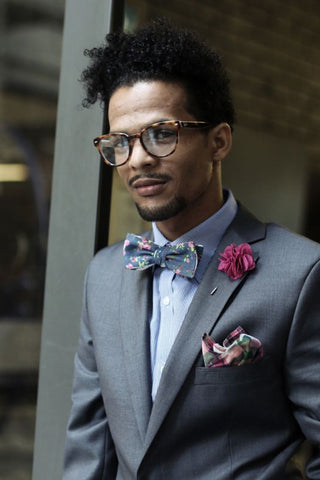 mens floral bow tie and lapel
