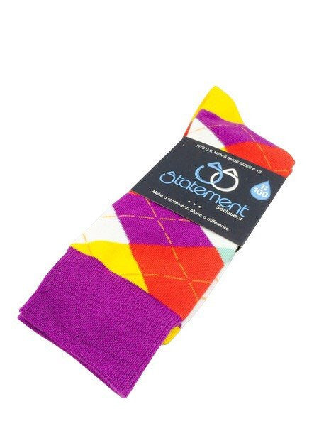 Purple, Red, Yellow Argyle Men's Dress Socks (SKU:22881) - Mule Ties