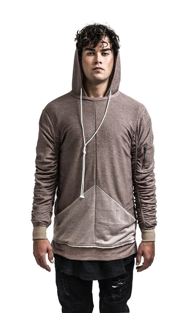 KOLLAR CLOTHING THE WOOLY FRENCH TERRY HOODIE - TAUPE. MULE TIES. CALGARY AB. FREE SHIPPING