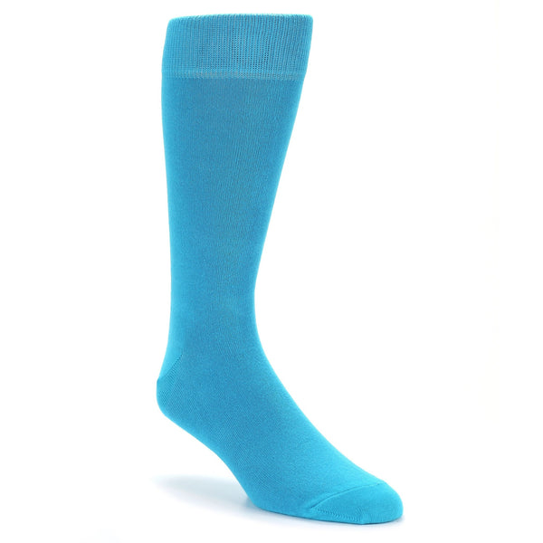 Pool Blue Solid Color Men's Dress Socks - Bold Socks (SKU: 21562) - Mule Ties