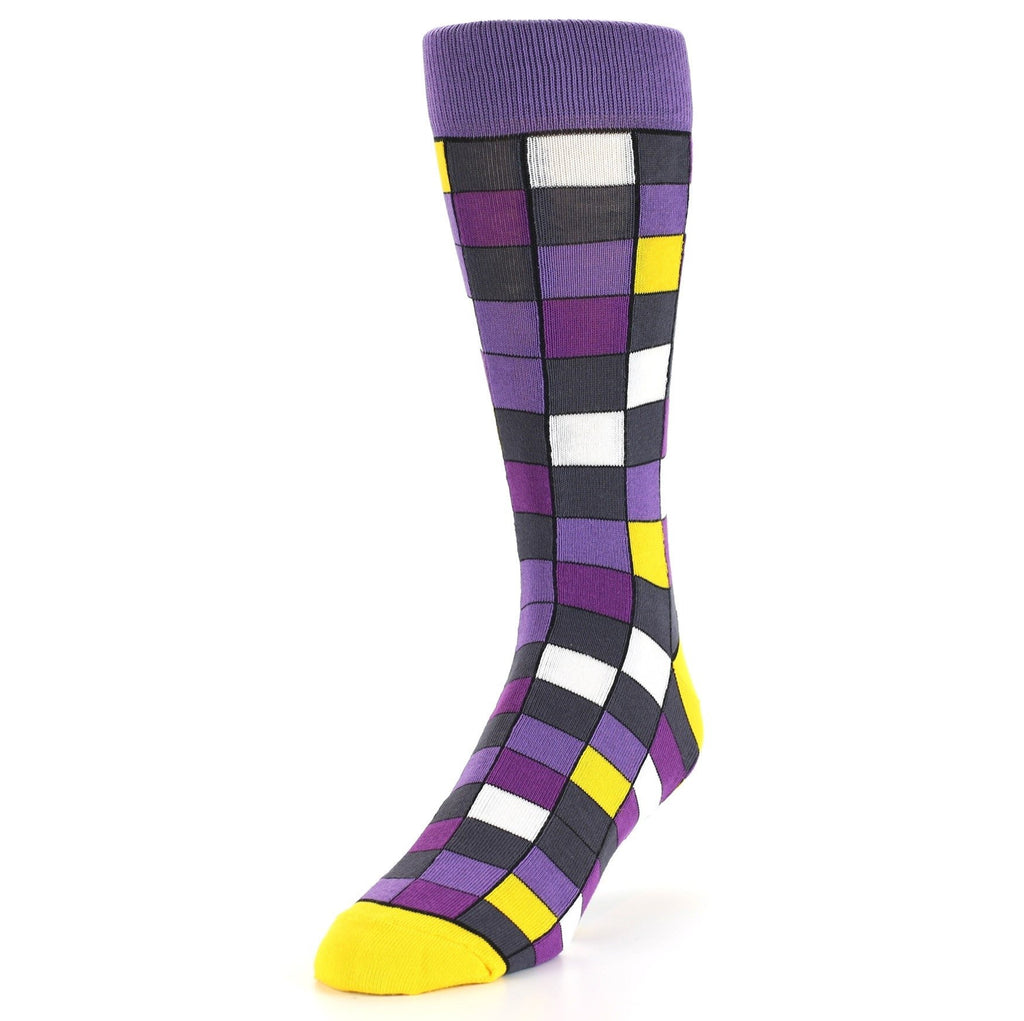 Purple Grey Yellow Checkered Men's Dress Socks - Statement Sockwear  (SKU: 21567) - Mule Ties