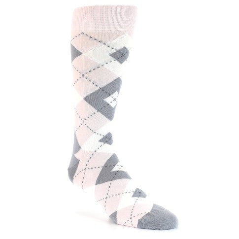 Light Pink Grey Argyle Wedding Men's Dress Socks - Statement Sockwear (SKU: 21778) - Mule Ties