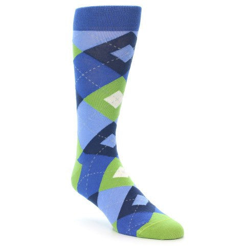 Blues Green Argyle Men's Dress Socks - Statement Sockwear (SKU: 21890) - Mule Ties
