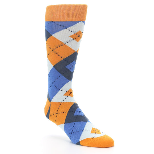Orange Blues Argyle Men's Dress Socks - Statement Sockwear (SKU: 22289) - Mule Ties
