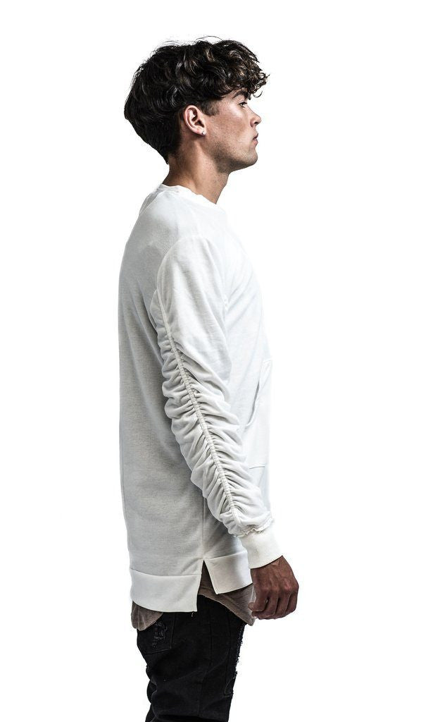 KOLLAR CLOTHING THE HAXTON RUCHED PULLOVER WHITE - Mule Ties