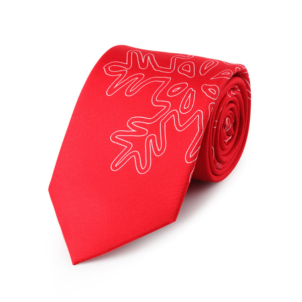 Snowflake Bright Red Christmas Neck Tie - Mule Ties