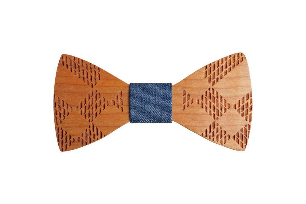 Wooden Engraved Design Bow Tie w Jean Fabric Material (options avail) - Mule Ties