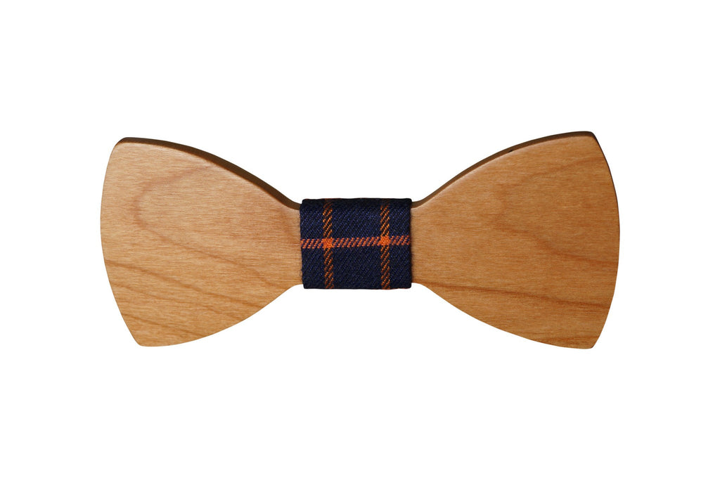 Wooden Smooth Bow Tie w Navy Plaid Fabric Material (Others colors avail) - Mule Ties