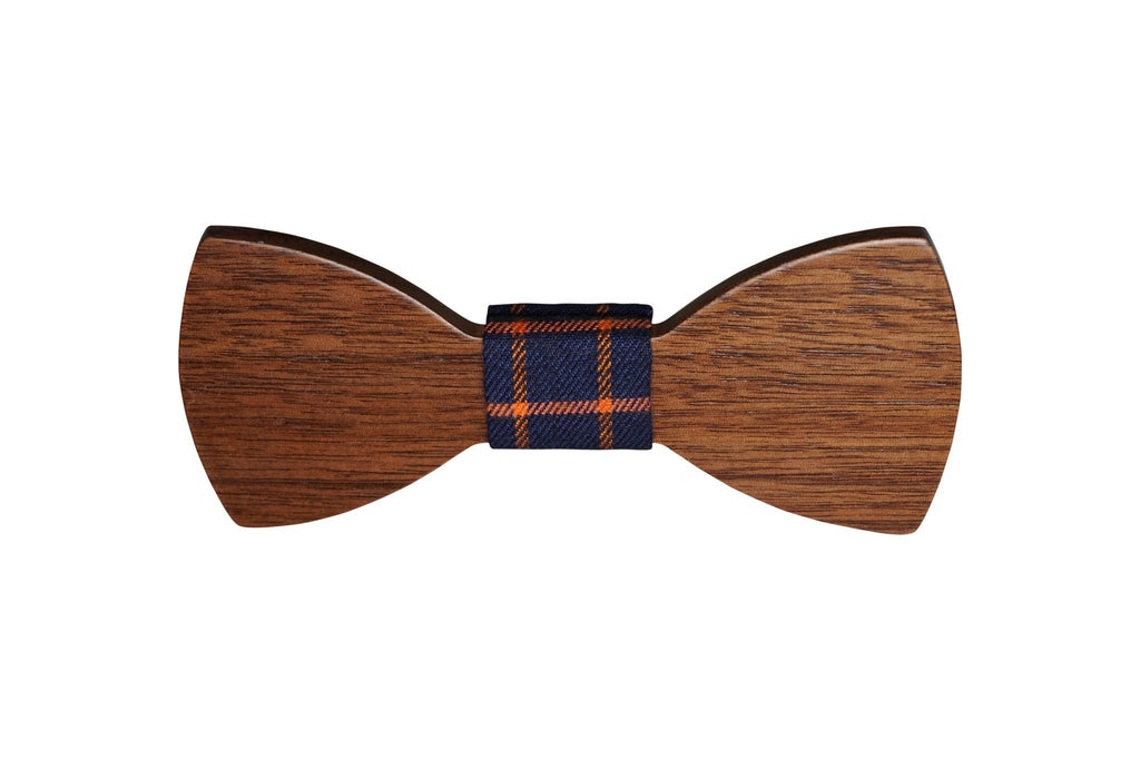 Wooden Black Cherry Bow Tie w Plaid Fabric Material - Mule Ties