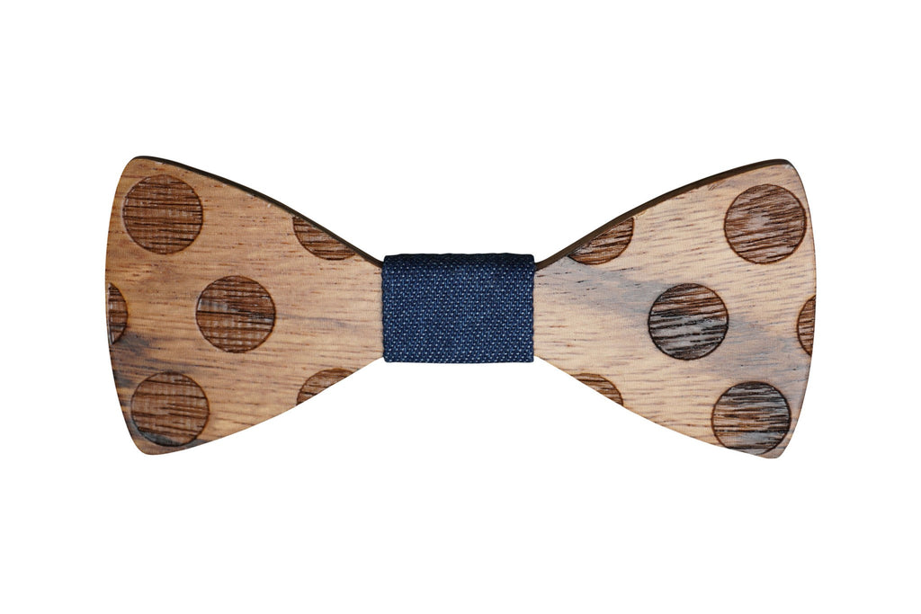 Wooden Polka Dot Bow Tie w Jean Fabric Material - Mule Ties