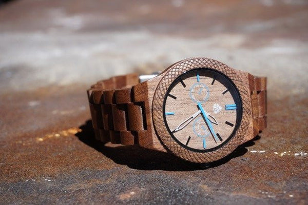 Leafwood Juglan Nut Mens Wood watch - Mule Ties